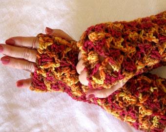 Orange brown Fingerless Gloves,  Fingerless mittens, texting gloves, driving gloves, winter fashion