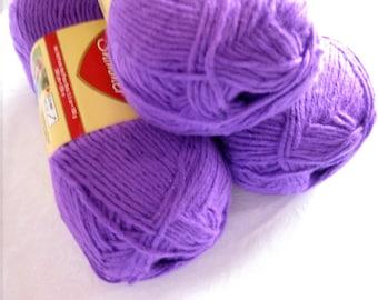 Red Heart Shimmer yarn, light PURPLE yarn with purple metallic thread