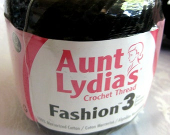 Aunt Lydias Fashion Crochet cotton thread, Size 3, BLACK
