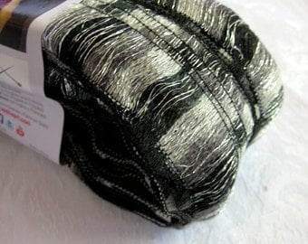 Red Heart yarn, Boutique Ribbon yarn , CITY  black and white,  wide ruffling scarf yarn, metallic sparkle, bulky weight yarn