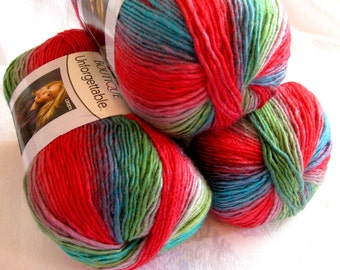 Boutique Unforgettable yarn in  PARROT, bright shades of red, green, blue worsted weight, Red Heart Boutique