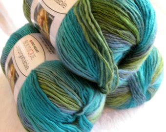 Boutique Unforgettable yarn in TIDAL, water shades of greens and blues, worsted weight, Red Heart Boutique