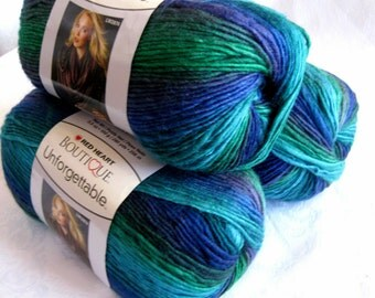 Unforgettable DRAGONFLY yarn, Red Heart Boutique, beach shades of royal blue, green, teal, worsted weight