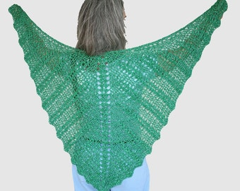 Emerald green ladies shawl wrap in bamboo & silk metallic, Crocheted butterfly lace Shawl, summer wrap, wedding shawl