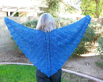 Women's Crocheted Lace shawl, butterfly style, alpaca and silk, sapphire blue, bat wing, ready to ship