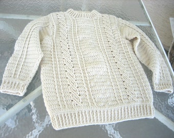 Ladies Fisherman Style Cable Sweater,  traditional style ski pullover, one of a kind