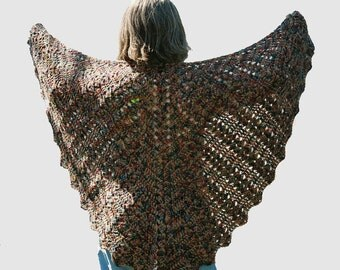 Womens crocheted Lace Shawl, Desert Sands, earth tones, butterfly style