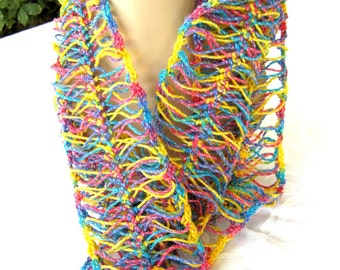 Multicolored Hairpin Lace Scarf, bright fashion scarf, lightweight, fashion accessory