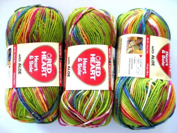 Self striping super wash wool yarn, Red Heart, Heart and Sole sock yarn, Green Envy, fingering yarn
