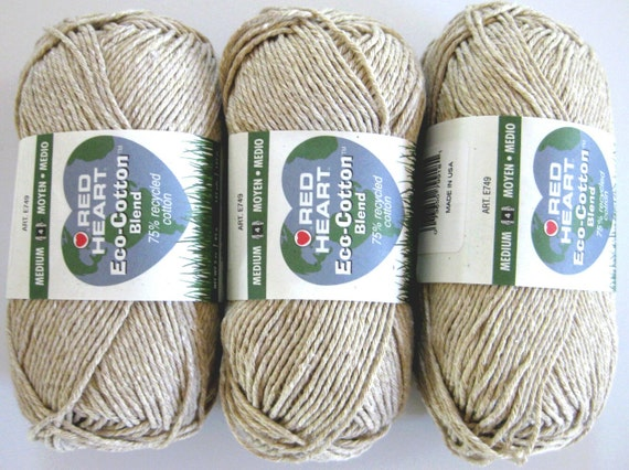 Red Heart Eco Cotton Yarn, Almond, from recycled tshirts, 3 balls