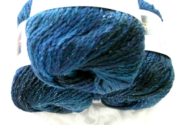 Red Heart Boutique Midnight Wool blend yarn, Moonlight, worsted weight, dark blue tones with metallic hints