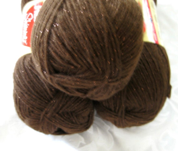 Red Heart Shimmer yarn, chocolate brown with brown metallic sparkle thread