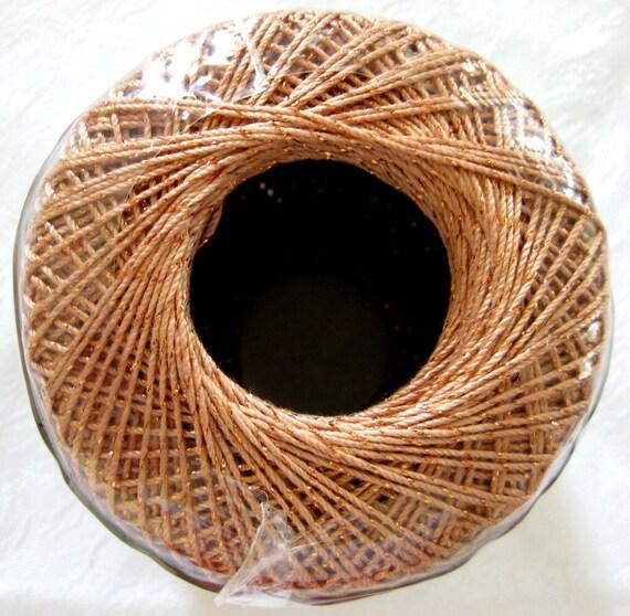 Aunt Lydia's Fashion Metallic, copper with copper metallic thread, size 5 crochet cotton, 310C