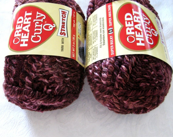Red Heart Curly Q yarn,  Mixed Berries, bulky weight, purple shades, stretch yarn