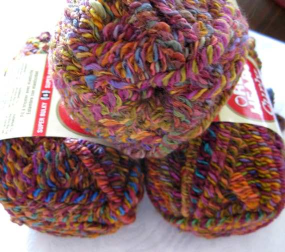 Red Heart Curly Q yarn,  Patchwork,  bulky weight, multi colored, doll hair yarn