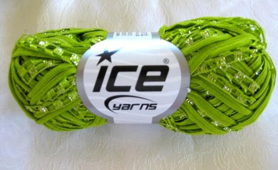 Lime Green Ladder Ribbon mesh yarn with metallic shimmer, Ice Yarns, Sila Ribbon