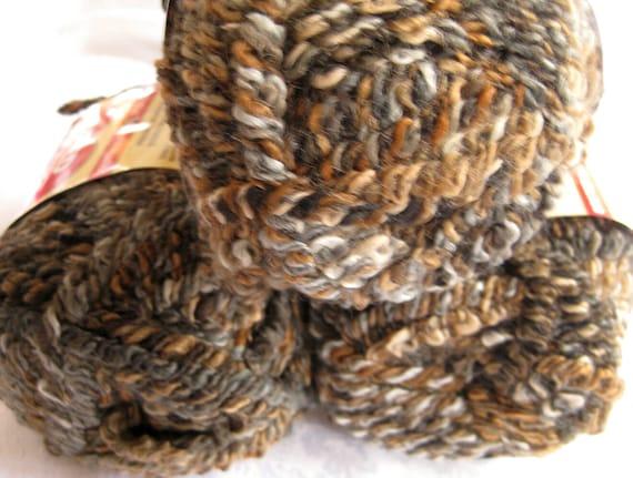 Red Heart Granite Curly Q yarn, bulky weight, stretch yarn, earth tones, brown doll hair yarn