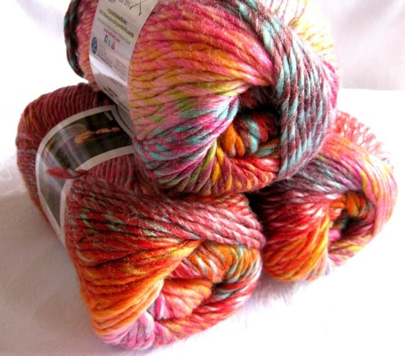 Boutique Treasure yarn in ABSTRACT, Wool blend yarn, orange, red green shades, worsted weight, Red Heart Boutique variegated yarn