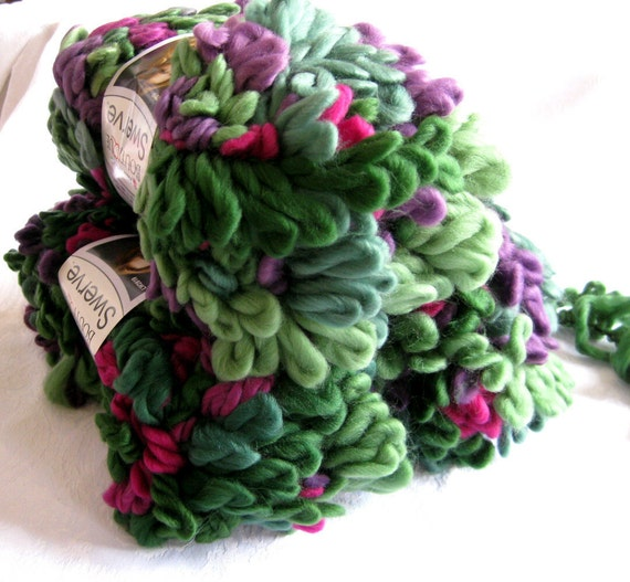 Red Heart Swerve yarn, VINEYARD, super bulky loopy yarn, green red purple