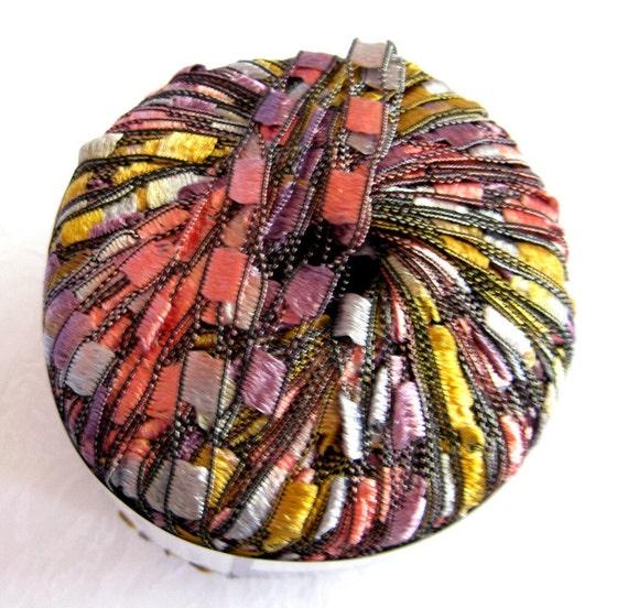 Ladder Ribbon Yarn,  Princess, trellis yarn, pastel shades of pink mauve  yellows green, Maxi 63