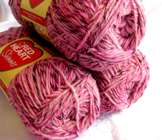 Red Heart Shimmer yarn, Cherries Jubilee, Red pink with metallic sparkle thread
