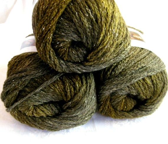Boutique Midnight  Whisper yarn, olive green and brown shades with a metallic thread, worsted weight