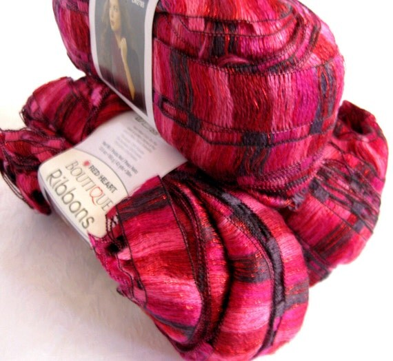 Red Heart Boutique Ribbons Yarn Rosebud Pink Scarf By