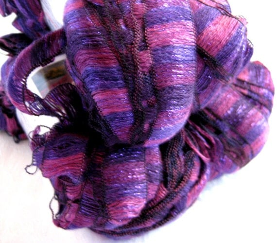 Wide purple ribbon yarn, AURORA orchid Purples, super bulky weight,  scarf yarn, Red Heart Boutique Ribbons