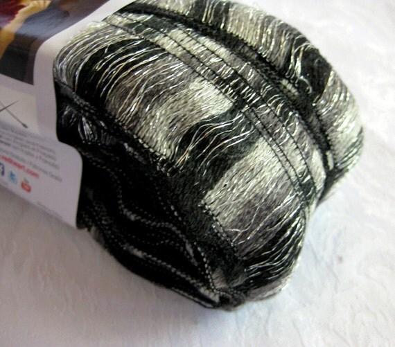 Red Heart yarn, Boutique Ribbon yarn , CITY  black and white,  wide ruffling scarf yarn, metallic sparkle, bulky weight yarn