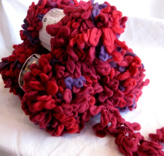 Red Heart Swerve yarn RAZZMATAZZ, super bulky loopy yarn, chunky arm knitting yarn, Bright red with purple hints,