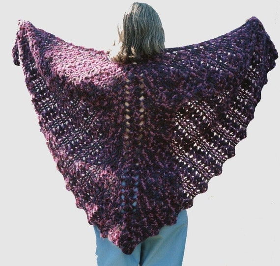 Crocheted shawl, Butterfly Lace Shawl, Prayer shawl, purple shades