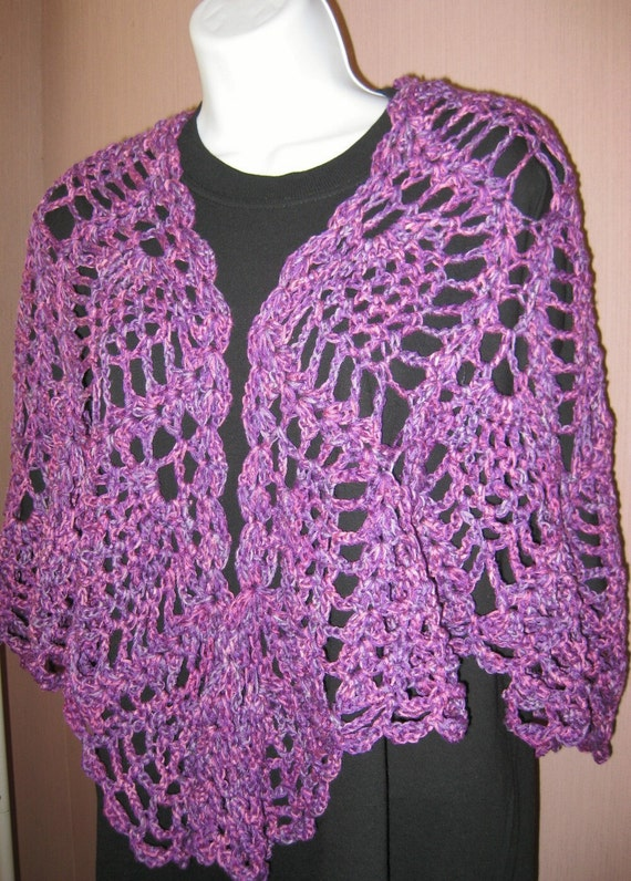 Lavender Pineapple Lace Crocheted Shawl, bamboo and silk, Perplexed, lobster claw style