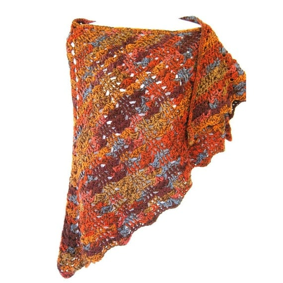 Crocheted Lace  Shawl - Tequila Sunrise over Arizona, wool and cotton blend, orange and browns, butterfly style