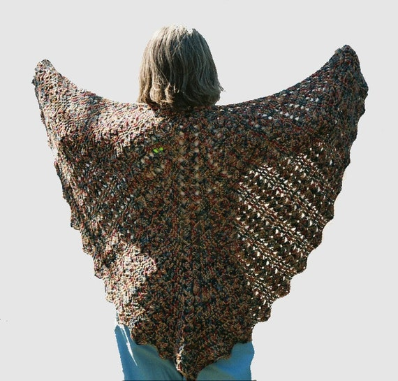 Crochet Butterfly Shawl Free Pattern : Womens crocheted Lace Shawl Desert Sands earth tones by ...