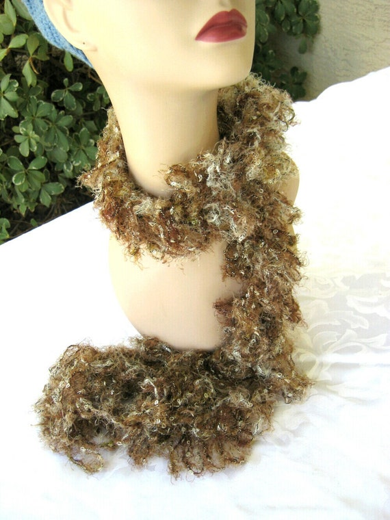 Lightweight long hairpin Lace Scarf, Earth Tones of brown tan and Mink
