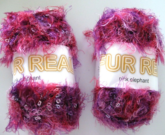 SWTC Fur Real eyelash novelty yarn, Pink Elephant,  shades of pink, red, purple, bulky weight, fun fur yarn