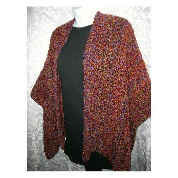 Knit Ruana Pattern Free : Crochet Shawl Pattern Crochet Ruana Wrap PDF by crochetgal