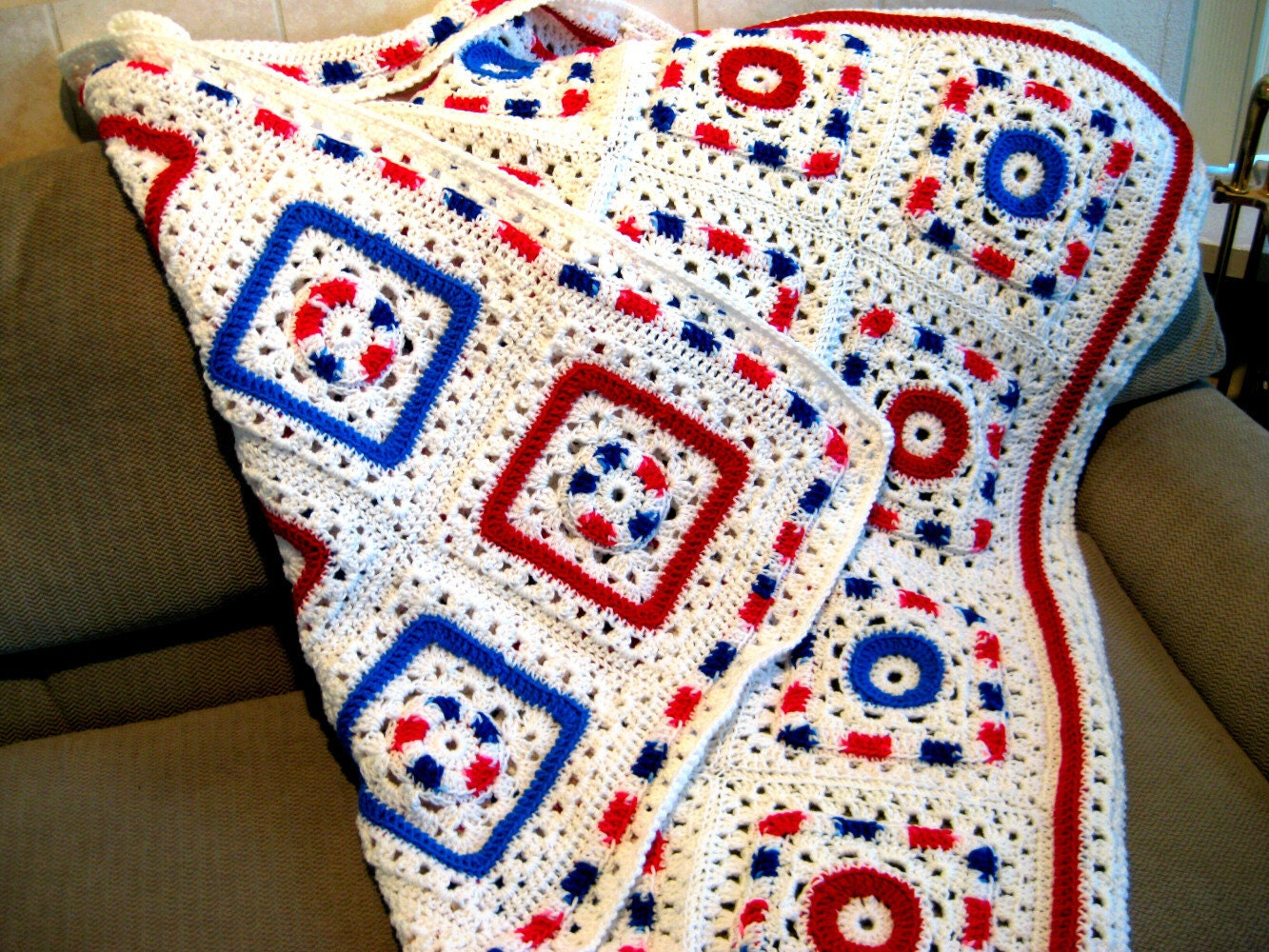 Crochet Granny Square style Reversible Afghan by crochetgal
