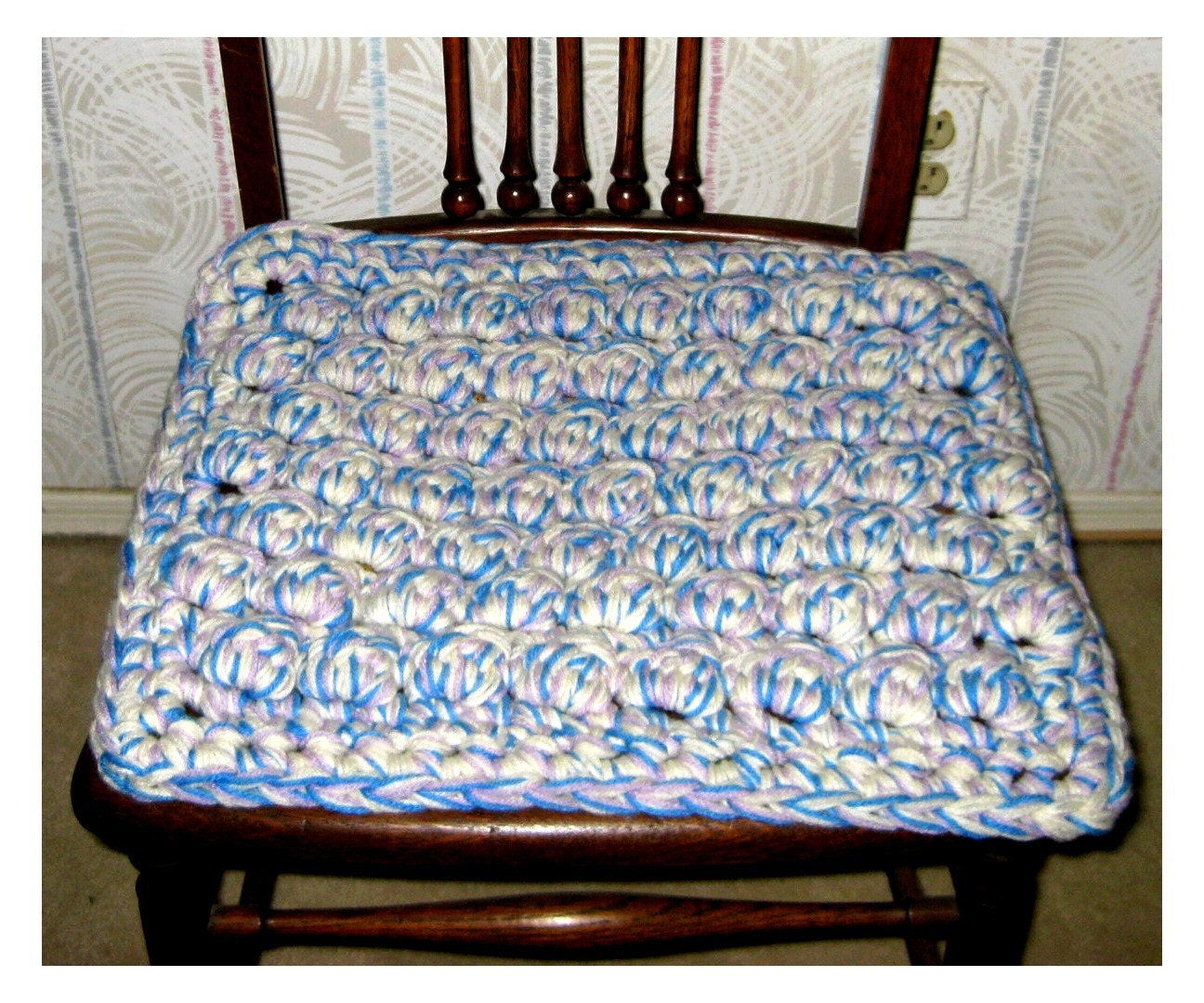 Crocheted Chair Cushion Stadium Seat Wheelchair Pad By Crochetgal