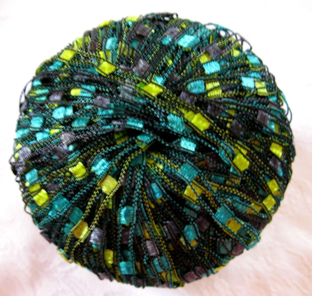 Berlini Ladder Ribbon Yarn Seascape Of Green Blue By