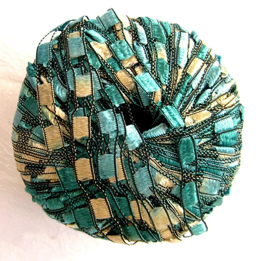Berlini Ladder Ribbon Yarn Emerald green trellis by crochetgal