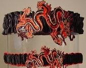 wedding garter set DRAGON LADY  a Peterene original design wedding  red CHINESE