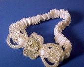 wedding garter  white EMPRESS A Peterene Original silver and white bridal