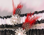 wedding garter  set Claire de Lune in BLACK and WHITE  bridal garters red feathers and bling HOLLYWOOD