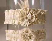 wedding garter set  SILK SENSATION wedding garter set  FEATHERS and Vintage Lace in white  or  ivory