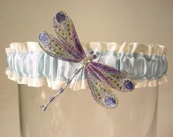 RESERVE LISTING FOR   LindsayLou7 SET Gossamer  Winged DRAGONFLY garter HAND PAINTED a PETERENE original design