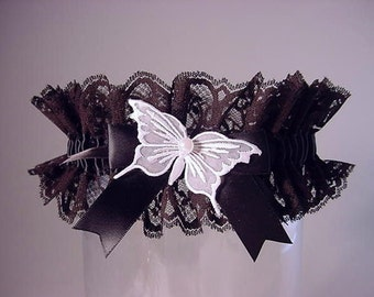 Black Butterfly Garter for Wedding or Prom Vintage lace