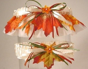 wedding garter set  FALL BRIDE  autumn leaves a Peterene Design original