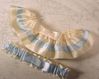 wedding garter SET TAILORED  2 tone Your color choice
