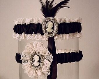Wedding garer set Lady Lydia Cameo  Vintage  Lace black and Ivory